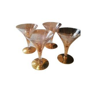 Dorothy Thorpe Cocktail Glasses W/ Gold Flecks - 4