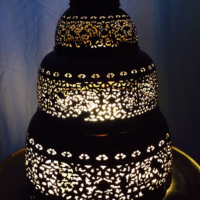 Vintage Morrocan Pierced Brass Floor Lamp - Image 4 of 6