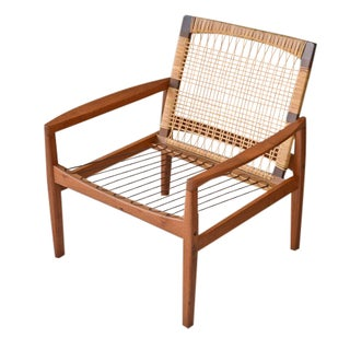 Hans Olsen Cane Back Teak Lounge Chair
