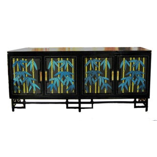 Hollywood Regency Faux Bamboo Hand Painted & Lacquered Credenza Sideboard