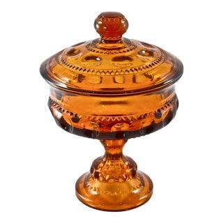 Amber Lidded Pedestal Bowl
