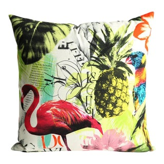 Pineapple Flamingo Art Tropical Decorative Euro Sham Pillow