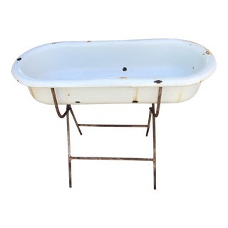 Antique Baby Bath on Metal Base