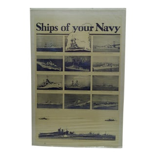 Circa 1930 U.S. Ships of Your Navy Navy Recruiting Poster