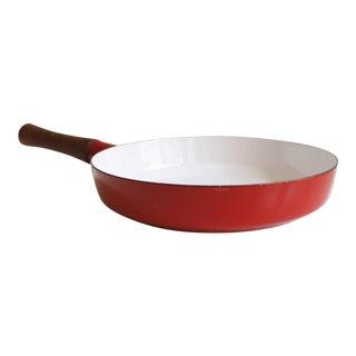 Large Red Dansk Kobenstyle Enamel Skillet Frying Pan Jens Quistgaard