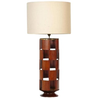 1960s Modeline Walnut Reticulated Style Table Lamp