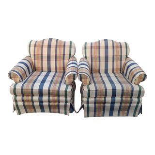 Plaid Upholstered Bergeres Club Chairs - A Pair