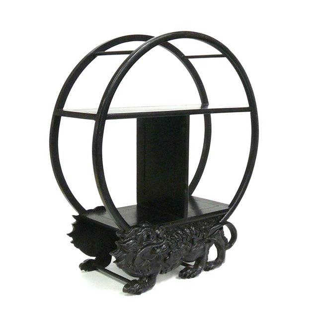 Mini Round Display Stand with Foo Dog Motif - Image 4 of 6