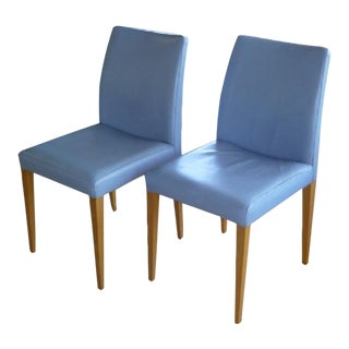 Pair of Poltrona Frau Liz Chairs in Blue Leather