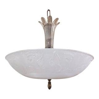 Art Deco White Glass Shade Chandelier Light