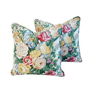 Schumacher Floral Bouquet Pillows - Pair