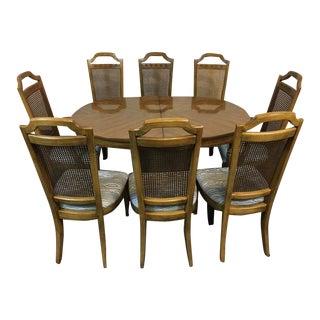 Vintage Carved Tiger Oak Dining Room Suite - Set of 9