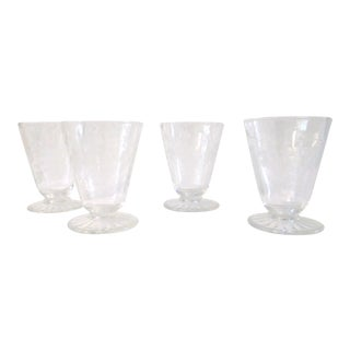 Mid-Century Modern Etched Grape Cordial Glasses - Set of 4