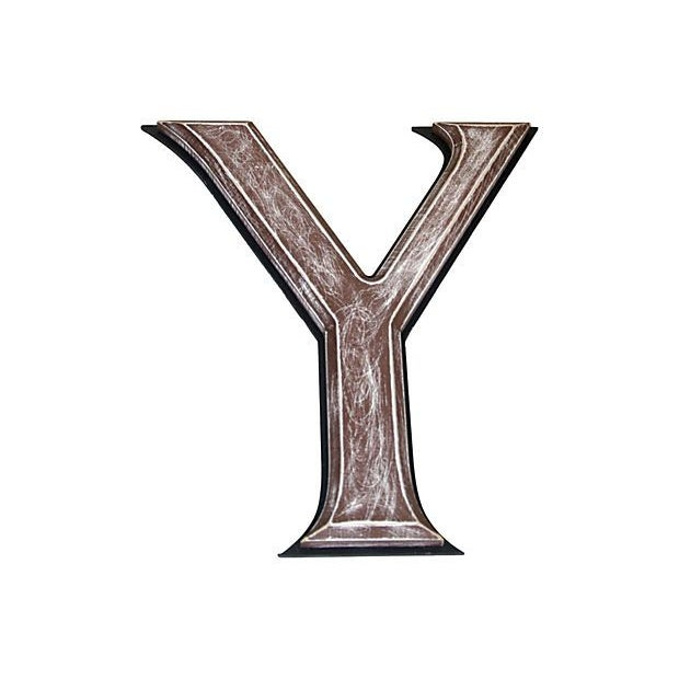 "Large 18"" Vintage Wooden Marquee Letter Y - Image 2 of 2"