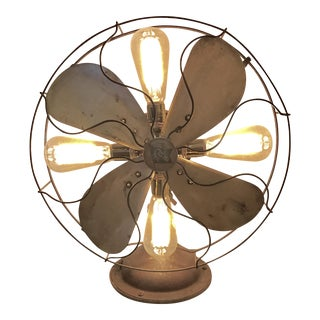 Repurposed Antique Fan Table Lamp