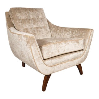 American Mid-Century Modern Chair in Burnished Walnut and Smoked Citrine Velvet