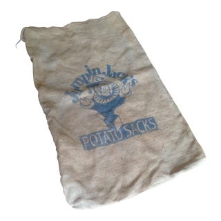 "Vintage ""Jumping Jack"" Burlap Potato Sacks - A Pair"