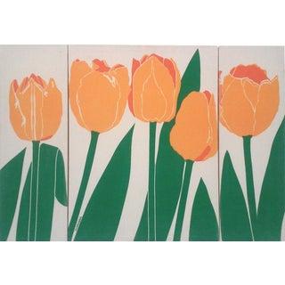Silkscreen Yellow Tulip Themed Triptych