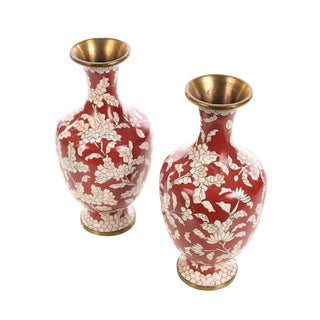 Pair of Chinese Cloisonné Red & White Vases