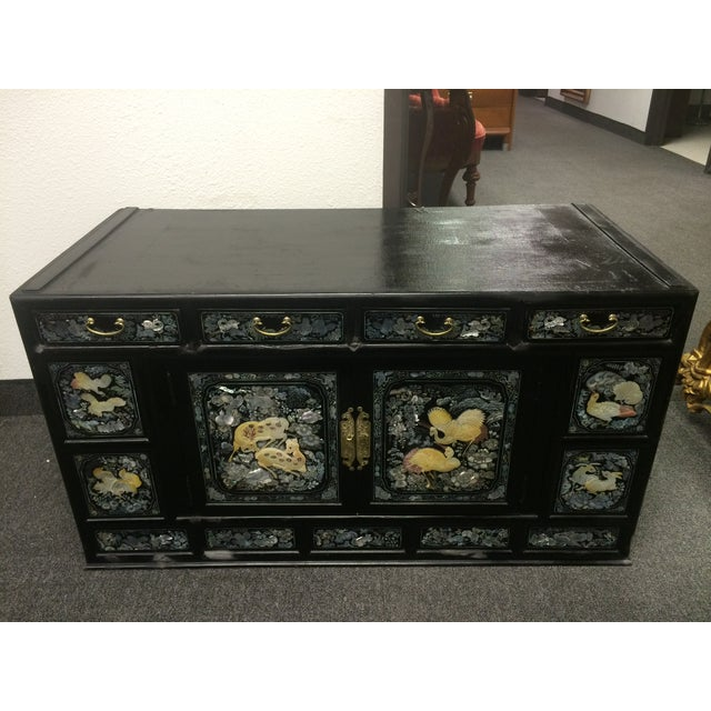 Asian Black Lacquer Mother of Pearl Inlay Chest - Image 5 of 7