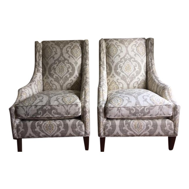 Arhaus Upholstered Plazza Wing Chairs - A Pair - Image 1 of 6