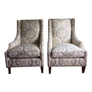 Arhaus Upholstered Plazza Wing Chairs - A Pair