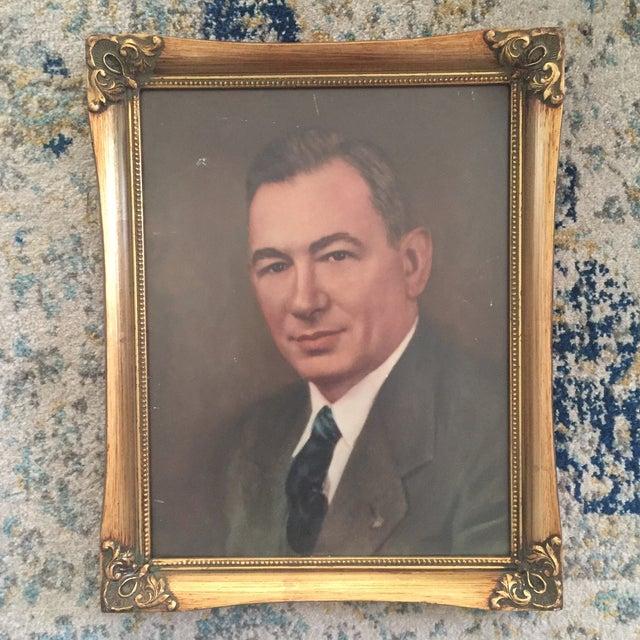 Vintage Framed Portrait Painting of Business Man - Image 3 of 11