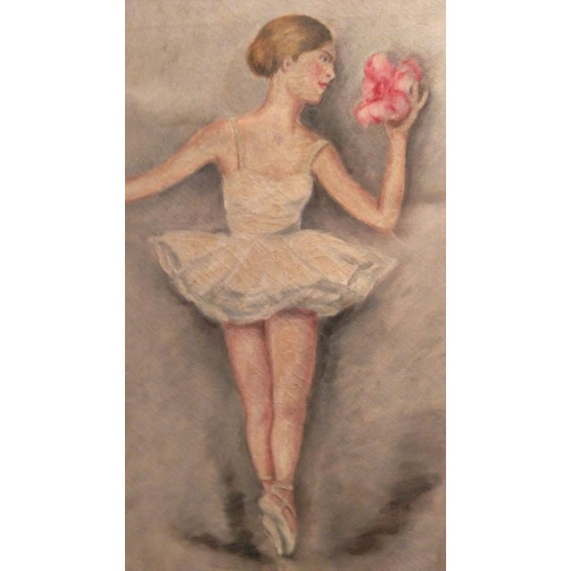 "Image of Vintage Painting on Canvas - ""Ballerina"""