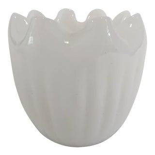 Midcentury Modern Milk Glass Ruffle Vase