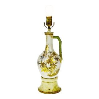 Vintage Asian Crane Design Gilt and Porcelain Table Lamp