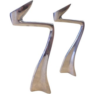 Zig Zag Aluminum Candle Holders - A Pair