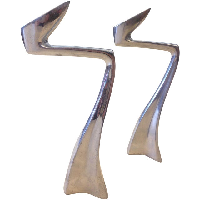 Image of Zig Zag Aluminum Candle Holders - A Pair