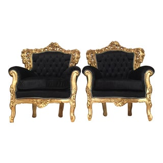 Gilded & Black Tufted Throne Chairs - A Pair