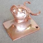Image of Vintage French Copper Kitchen Apron Wall Hook