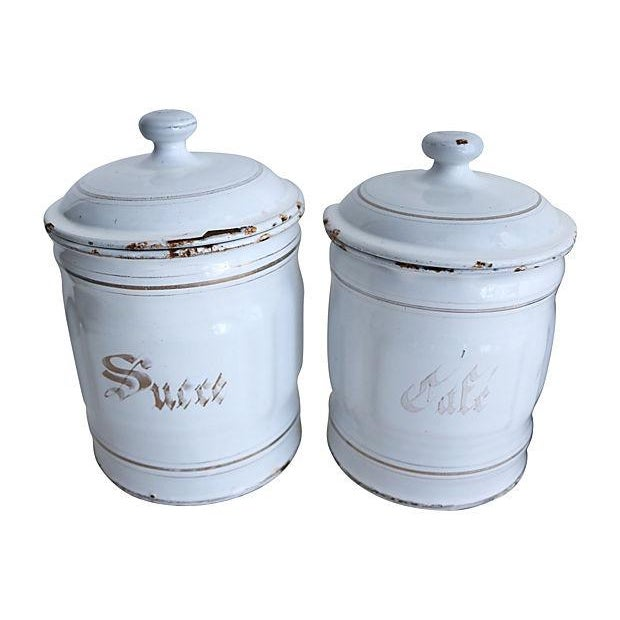 Vintage French Enamel Kitchen Canisters - Set of 5 - Image 2 of 3