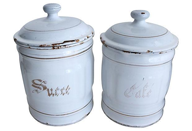 vintage french enamel kitchen canisters set of 5 chairish french red amp white kitchen canister set chairish