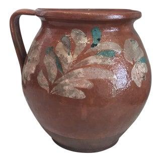 Antique Floral Motif Glazed Milk Jug
