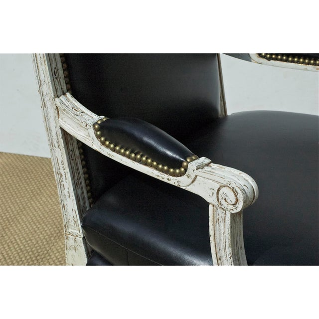 Vintage Black & White Louis XVI Bergere Chairs - A Pair - Image 8 of 9