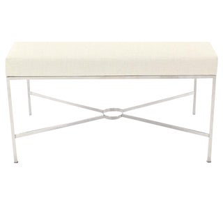Chrome X-Base Upholstered Top Bench