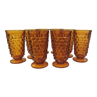 Amber Gold Tumblers Tea Glasses - Set of 8