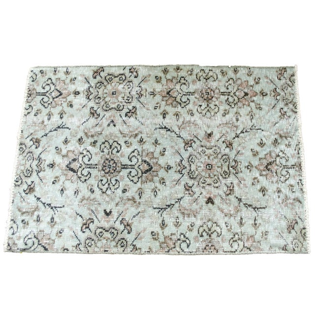 Turkish Over-Dyed Mint Wool Rug - 3′ x 2′ - Image 1 of 5