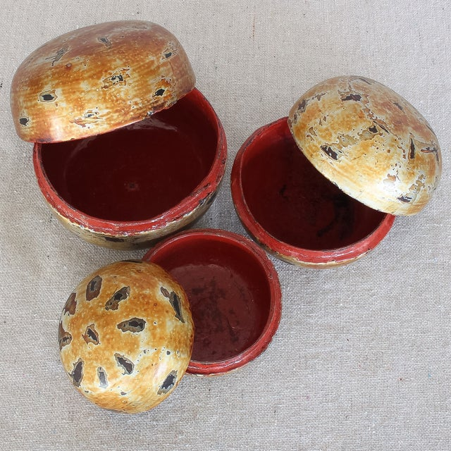 Asian Gilt Lacquered Nesting Boxes - Set of 3 - Image 6 of 7