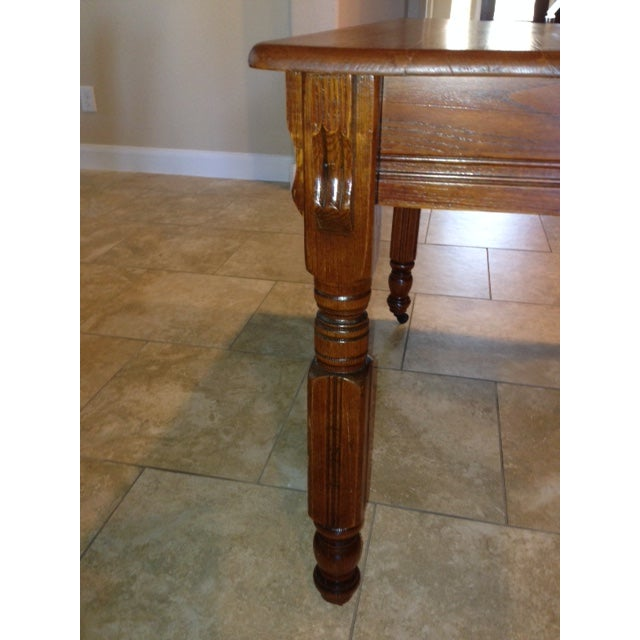 Antique 1900s Solid Wood Dining Table - Image 6 of 6