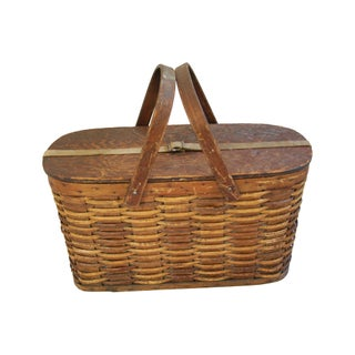 Antique 1920s Hawkeye Wicker & Tin Picnic Basket