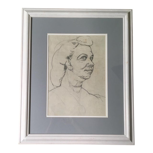 Mid-Century Charcoal & Pencil Woman Sketch - Image 1 of 3
