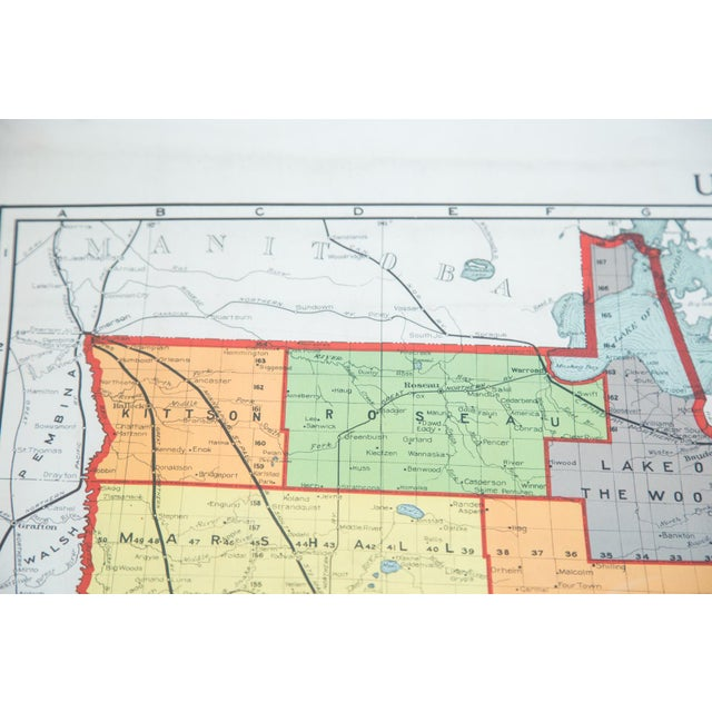 Antique Nystrom Pull Down Map of Minnesota - Image 5 of 9