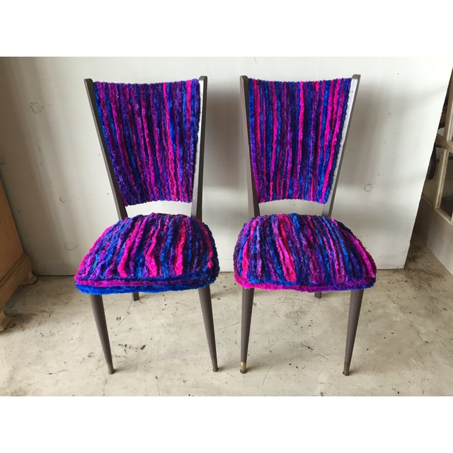Vintage 1960s Furry Striped Accent Chairs A Pair Chairish