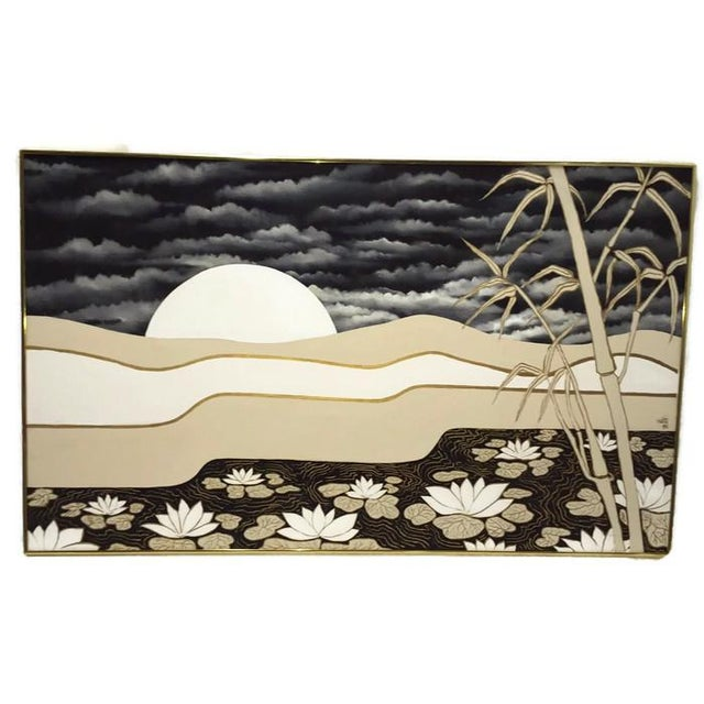 Vintage Abstract Lotus Canvas Art Work - Image 6 of 7