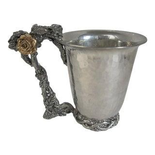 Hammered Pewter Rose & Vine Mug