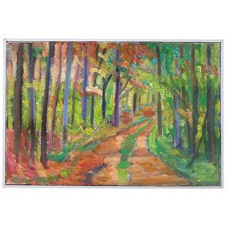 Vintage Mid Century Danish Modern Expressionist Forest Landscape Painting